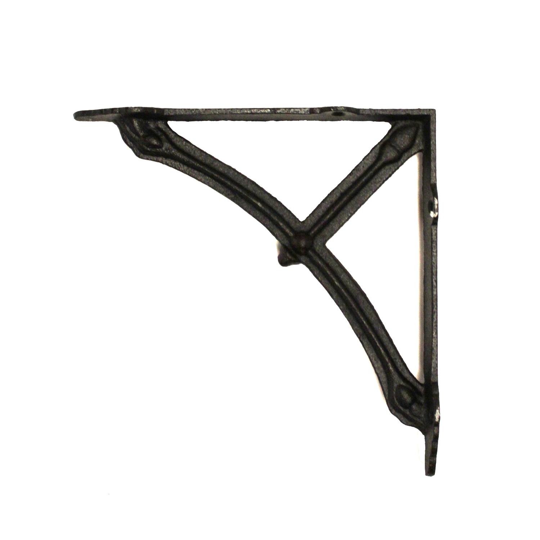 Cast Iron Shelf Bracket With Bridge Truss Old Style Black