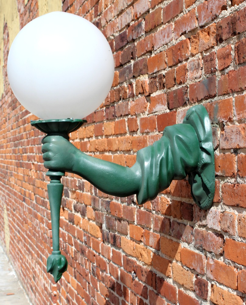 statue of liberty arm wall sconce light fixture torch outdoor or indoor