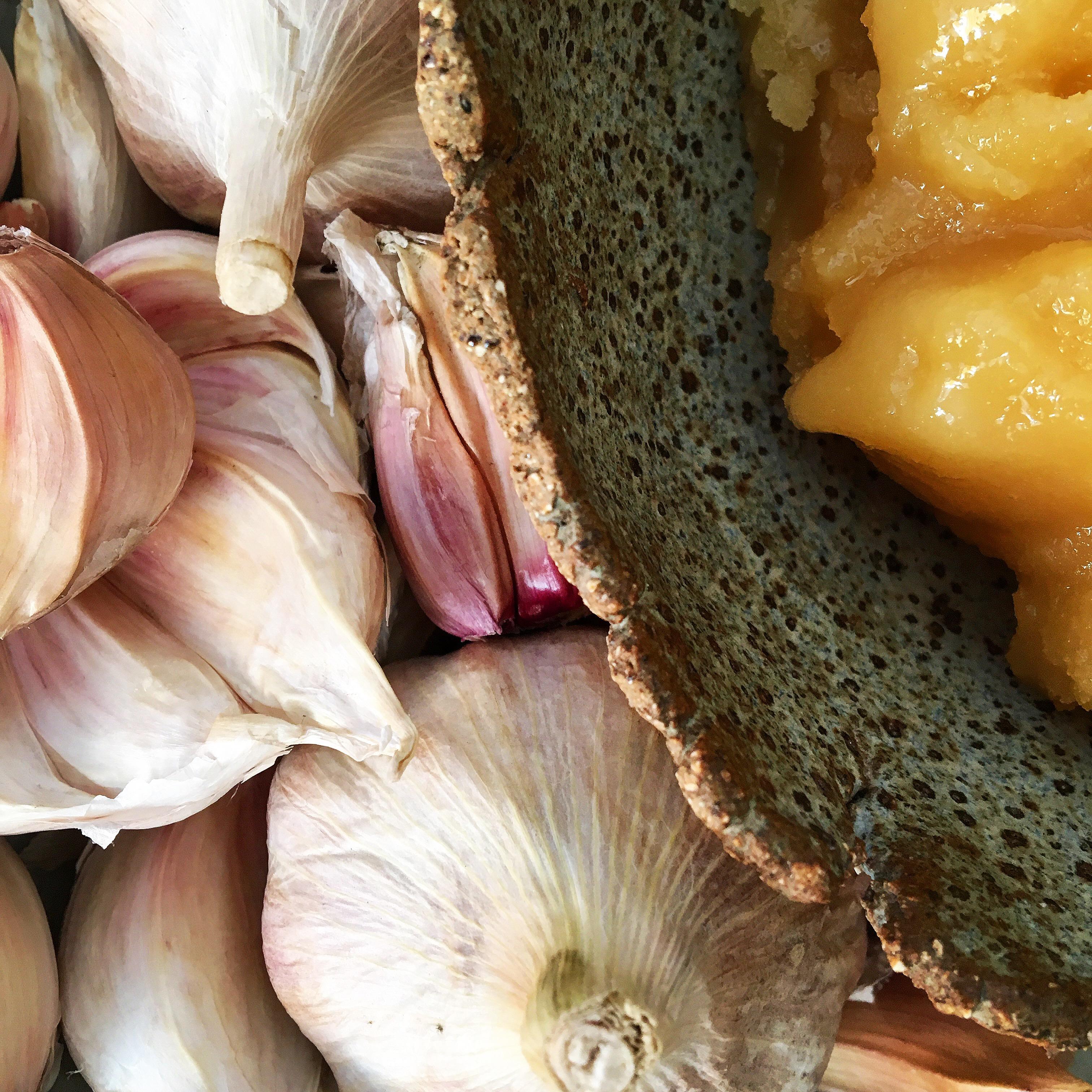 Local Raw Honey and Garlic Cloves Fermented