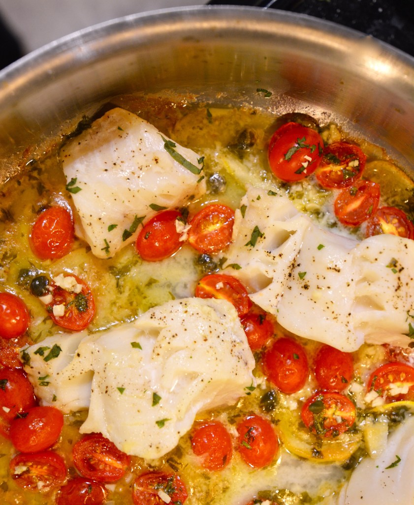 One Pot Cod with Blistered Tomatoes