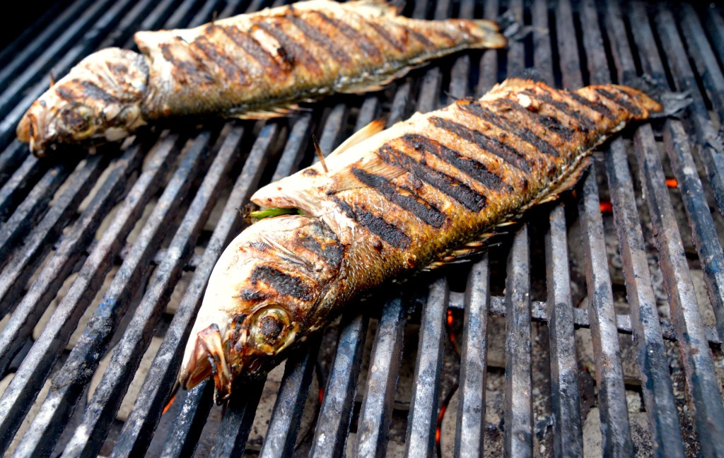 Grilled Whole Branzino with Cilantro + Mint Relish
