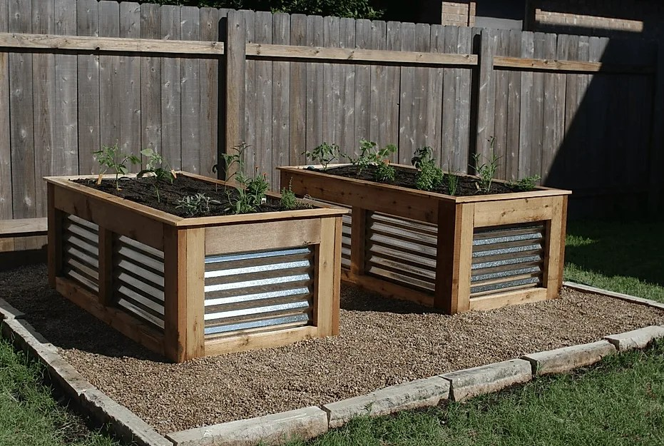 metal and wood raised bed gardens
