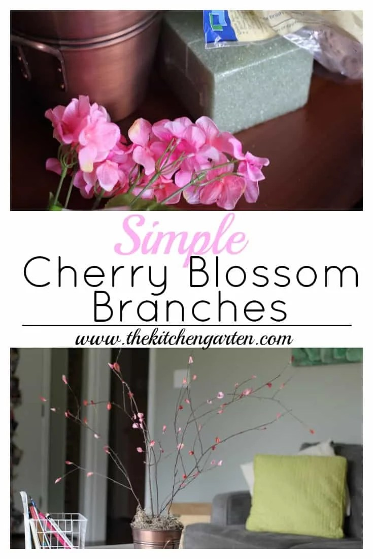 Create these lovely cherry blossom branches for your spring decor. Sticks, petals, and hot glue are all you'll need!