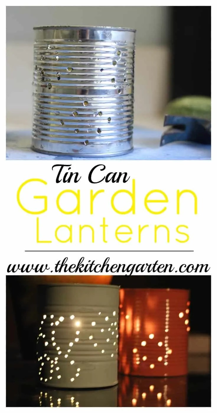 Don't throw out those used tin cans. With items you already have on hand, create these lovely garden lanterns. Add beauty and light to your porch or patio!