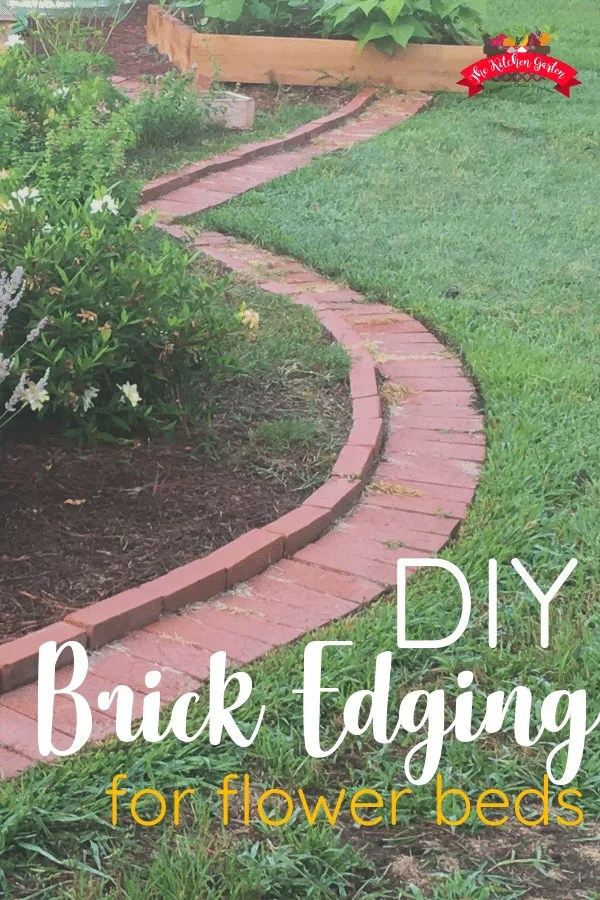brick garden edging in lawn