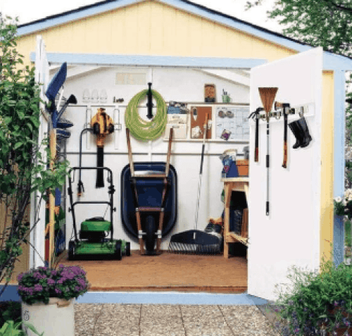 shed organized with hooks on the walls
