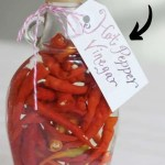 clear jar packed with red peppers and vinegar