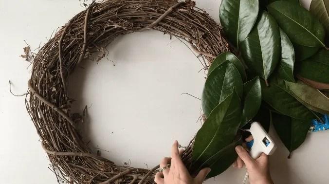magnolia leaves layered