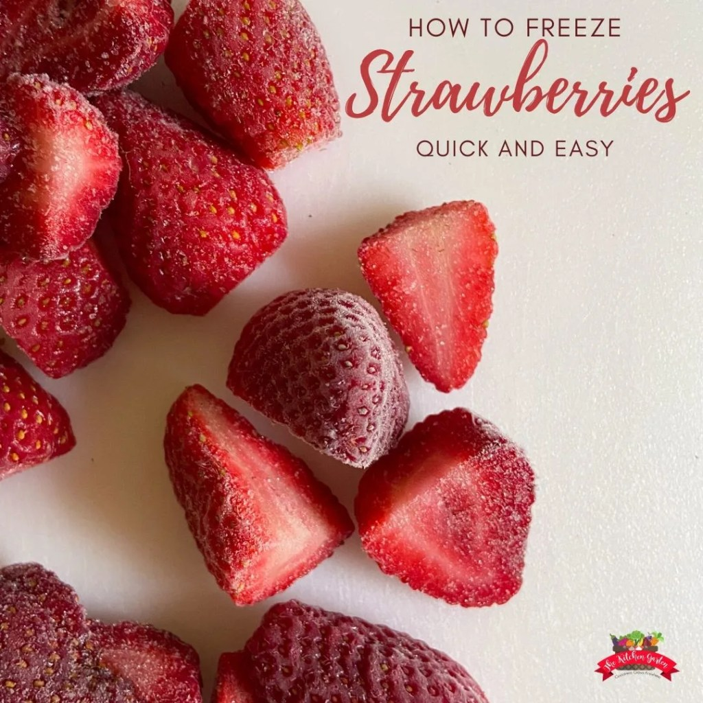 frozen strawberries on a white cutting board