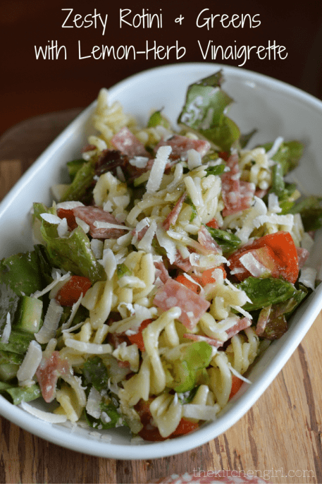 Zesty Rotini & Greens with Lemon Herb Vinaigrette with salami, lettuce, and tomatoes, tossed in a citrus dressing. Great summer salad! thekitchengirl.com