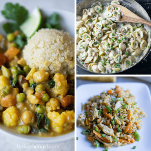 30 Minute Meals: easy weeknight dinner recipes. Salads, soups, sandwiches, pastas, rice dishes, curries made with WHOLE FOOD ingredients. Some GF, vegetarian, and vegan! thekitchengirl.com