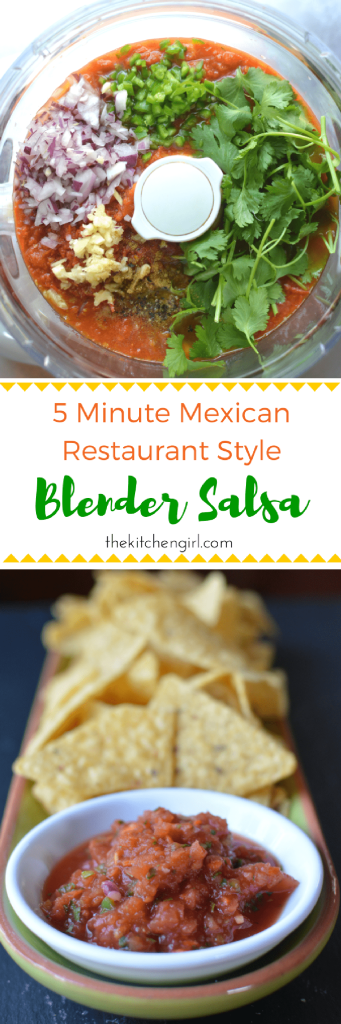 Make blender salsa ANY season with always-available ingredients like canned tomatoes, cilantro, lime, onion, peppers, and garlic. 5 Minute Mexican Restaurant Blender Salsa. thekitchengirl.com