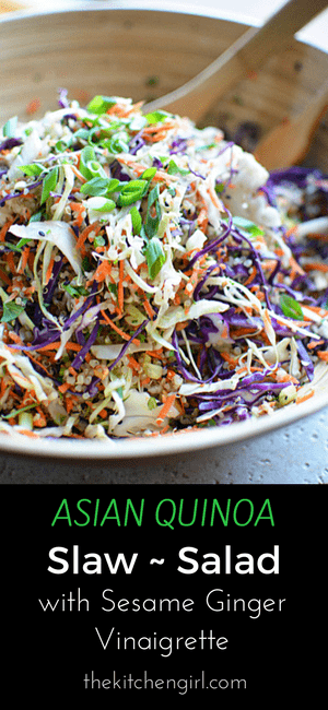 Eat clean with this raw veggie and quinoa salad. Asian Quinoa Slaw Salad Sesame Ginger Vinaigrette. thekitchengirl.com #glutenfree #vegan #dairyfree #asiansalad #choppedsalad #mealprep #healthyrecipe #saladforlunch