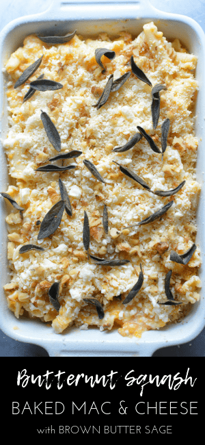 Healthy-ish baked mac and cheese where butternut squash is blended into the sauce making it creamy, but with less cheese. Baked Butternut Squash Mac and Cheese #macncheese #macandcheese #holidayfood #holidayrecipe #sidedish #macaroniandcheese #Thanksgiving #Christmas