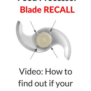 Cuisinart Food Processor Blade Recall