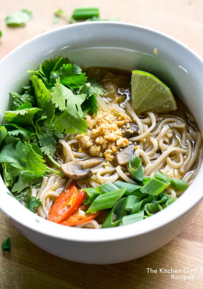 Feed a cold with Feel Better Pho. Easy, 15 min, Asian-inspired, vegan soup on thekitchengirl.com #asianpho #pho #coldandflu #coldsymptoms #easysoup #vegansoup #getwellsoup