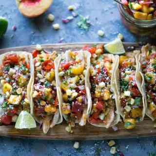 Grilled Chicken Tacos with Peach Salsa