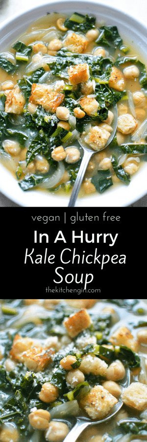 Healthy soup in 15 minutes? YES! In-A-Hurry Kale Chickpea Soup is a healthy, quick, weeknight meal. thekitchengirl.com #vegansoup #glutenfreesoup #chickpeassoup #healthysoup #kalerecipe