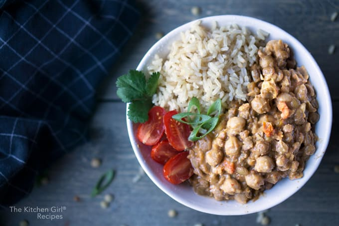 Plant based curry in 30! Thai Curry Lentil Chickpeas for Instant Pot or Stove #instantpot #instantpotcurry #vegan #vegancurry #redcurry #thaicurry #lentilcurry #plantbased #mealplan