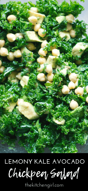 Crush nutrition goals with a massaged kale salad recipe that uses fresh lemon vinaigrette, avocados, and chickpeas! #vegansalad #mealprep #glutenfree #kalesalad #chickpea #chickpeasalad #avocado #mealplan #healthylunch