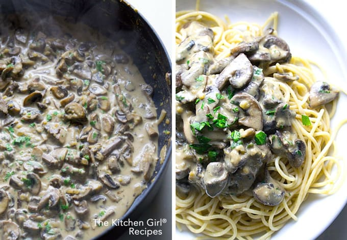 Gluten free and vegan-friendly Lightened Up Vegetarian Mushroom Stroganoff skillet at thekitchengirl.com #glutenfree #veganmadeeasy #skilletrecipe #veganfriendly #stroganoff #mushroom #healthyrecipe #vegetarianstroganoff #meatlessmonday