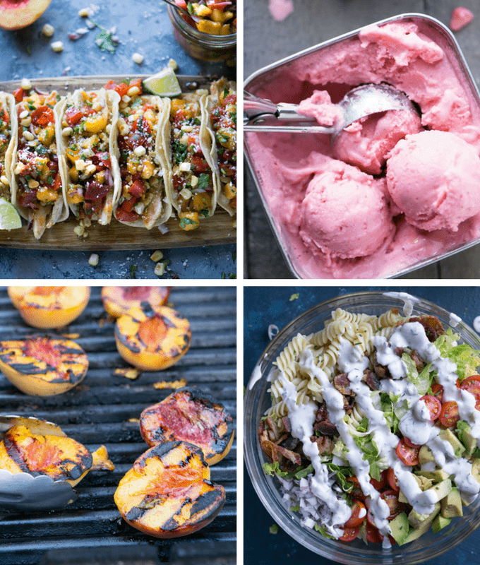Healthy summer roundup of appetizers / starters, salads, entrees, and dessert with loads of of fresh, healthy, summer ingredients. Mostly Healthy Labor Day Party Recipes thekitchengirl.com #laborday #labordayrecipes #healthyrecipes #healthypartyfood #summerrecipes