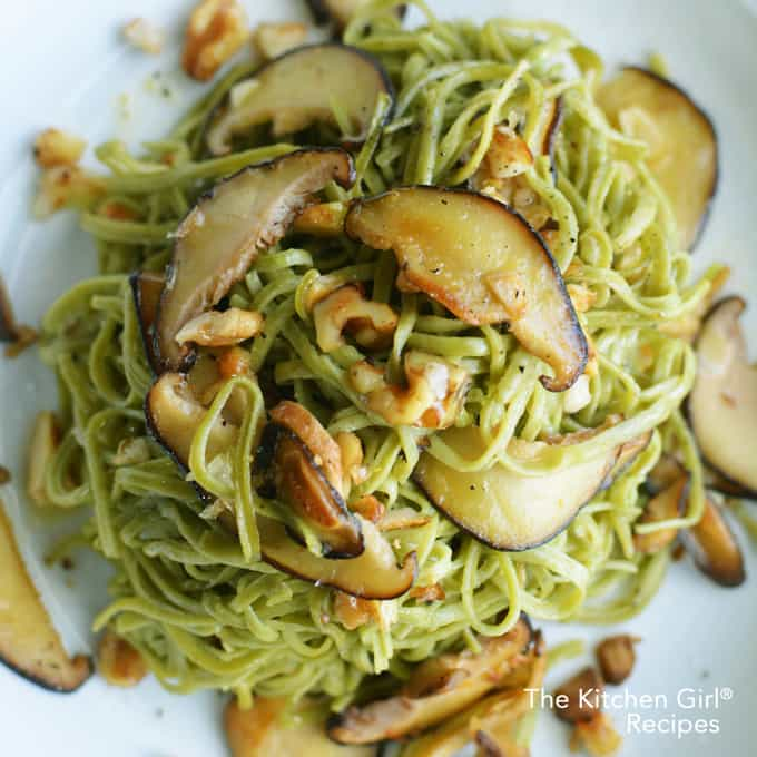 How do you cook edamame noodles? Check out this Mushroom Walnut Edamame Spaghetti Noodles recipe and you'll know! High fiber and low carb. thekitchengirl.com #glutenfreepasta #glutenfreenoodles #veganpasta #mushroompasta