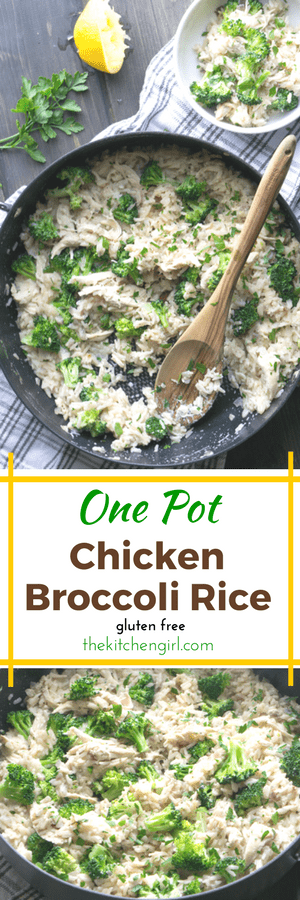 Skillet dinner in 30! One Pot Chicken Broccoli Rice. No cheese, but still a creamy comfort food! thekitchengirl.com #skilletmeal #onepotmeal #30minutemeal #chickenandrice #broccoli #glutenfree #chickenbroccoli #broccolichicken