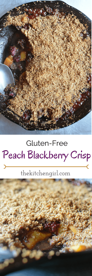 Gluten Free Peach Blackberry Crisp is naturally sweetened with honey and coconut sugar. Kid-friendly! Use apples, blackberries, blueberries, strawberries, rhubarb, or raspberries. thekitchengirl.com
