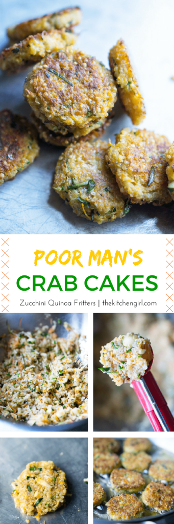 Poor mans crab cakes zucchini quinoa fritters the kitchen girl save money and feed a crowd with zucchini carrots and quinoa crabless cakes forumfinder Choice Image