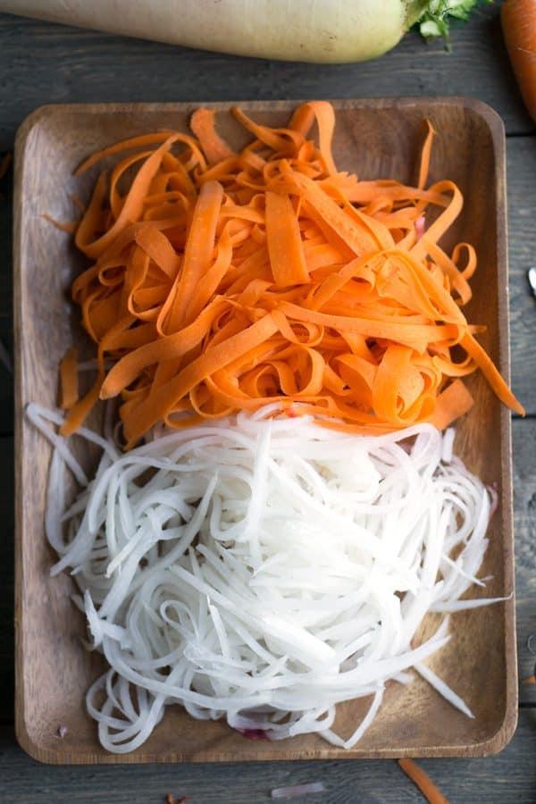 Quick Pickled Carrots and Daikon Vietnamese banh mi