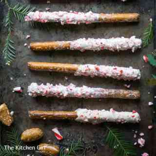 White Chocolate Peppermint Bark Christmas Pretzel Rods