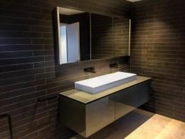 custom bathroom cabinet - grey white black 2