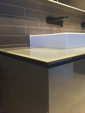 custom bathroom cabinet - grey white black
