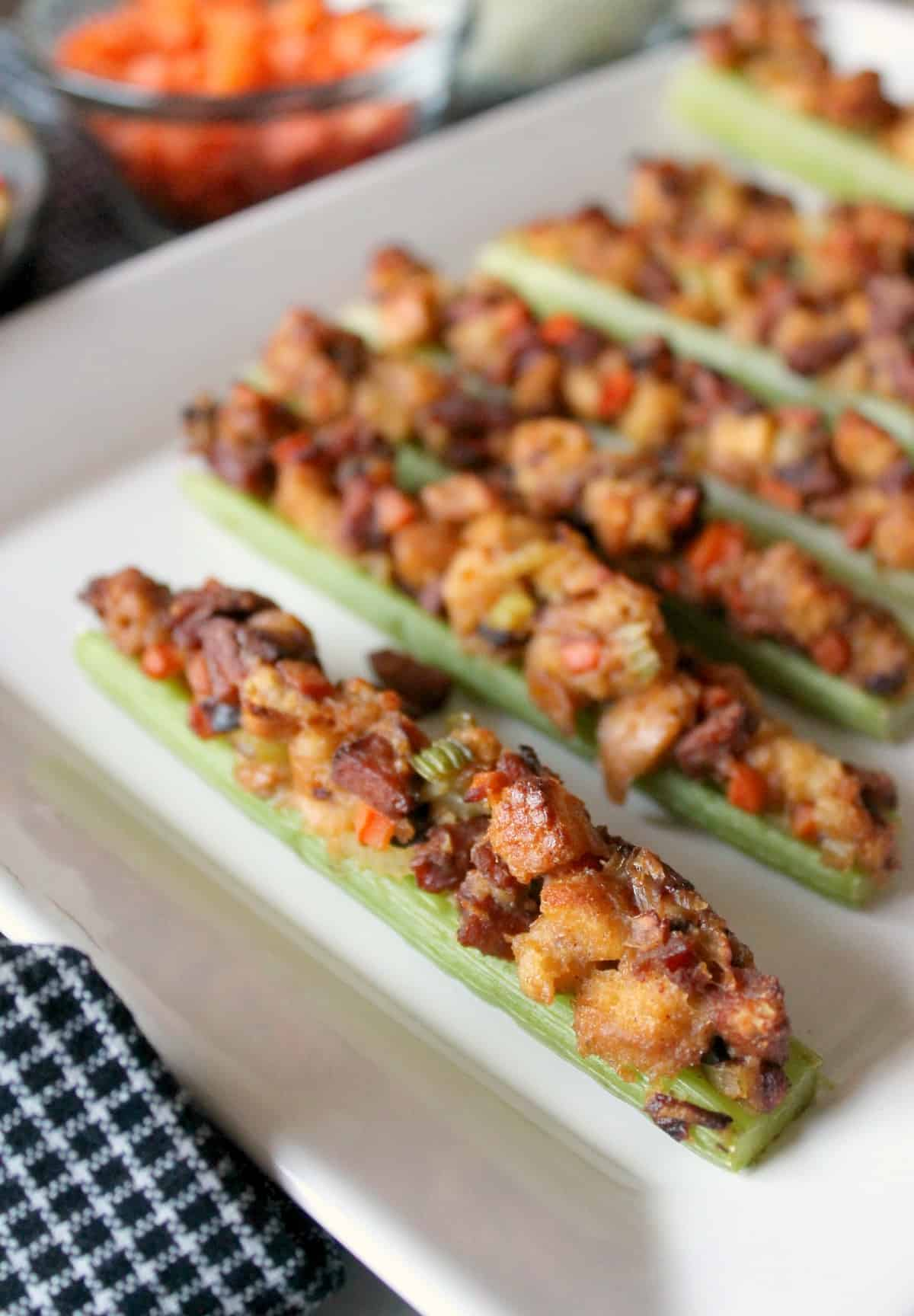 Roasted Celery Boats with Cajun Stuffing via The Kitchen Prep | www.thekitchenprepblog.com
