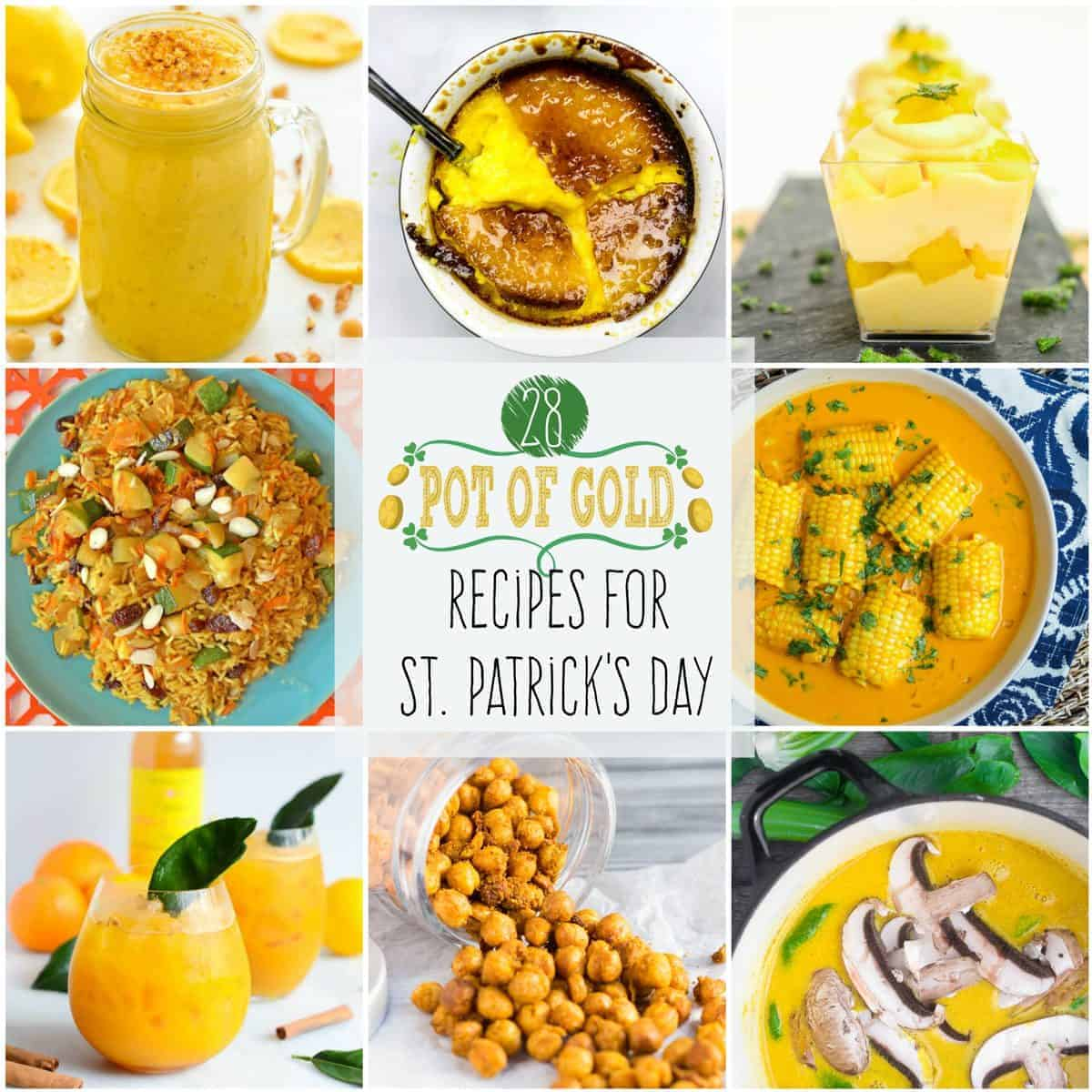 """Pot of Gold"" Recipes for St. Patrick's Day! Wear your green, but keep your food and drinks golden with these gilded recipes!"