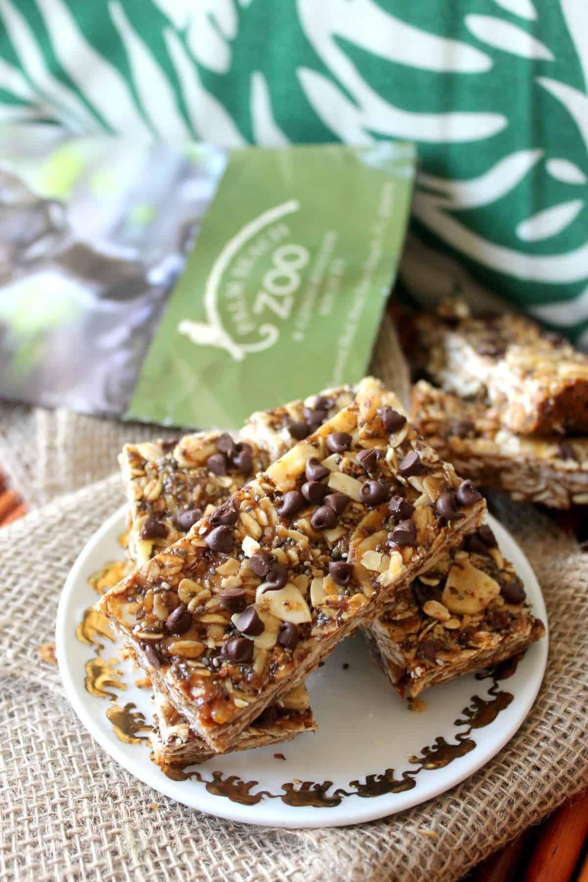 "There's no ""monkey business"" in these Monkey Bars; nutritious Banana Peanut Butter Chocolate Chip Granola Bars that make a perfectly portable snack! Made with oats, ground flax, chia seeds, peanut butter and banana chips {plus few tablespoons of mini chocolate chips, if you wish} these wholesome granola bars are the ultimate ""fun fuel."""