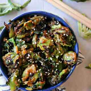 Sesame Peanut Brussels Sprouts! If you or your family need convincing that Brussels sprouts can be delicious, this recipe is the ticket to a clean plate! Savory peanut butter sauce with a dash of sweetness and a hint of spice glaze these sprouts for a side dish that will grace your table again and again.
