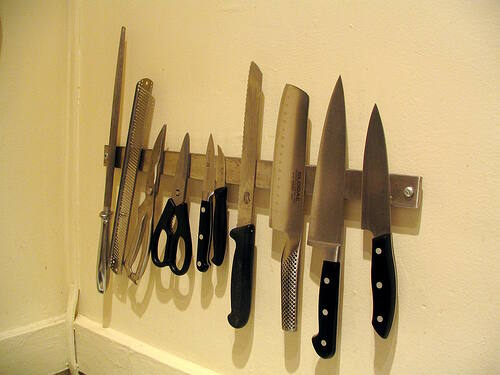 I like to use a magnetic strip to store my knives.