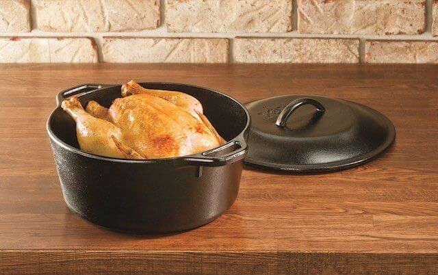 The Standard: Lodge Pre-Seasoned Cast-Iron Dutch Oven with Dual Handles, 5-Quart. I am not actually a fan of the pre-seasoning from Lodge or the roughness. If you can snag an heirloom Wagner Ware or Griswold, then you can see the difference.