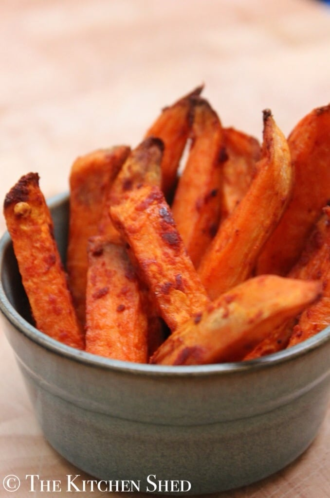 Clean Eating Garlic Sweet Potato Chips