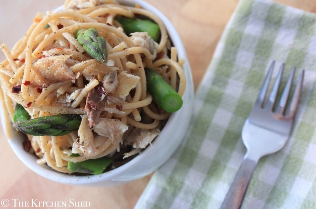 The Kitchen Shed - Clean Eating Mackerel Asparagus Spaghetti