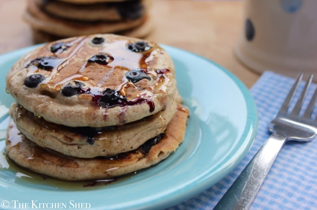 The Kitchen Shed - Clean Eating Blueberry Pancakes