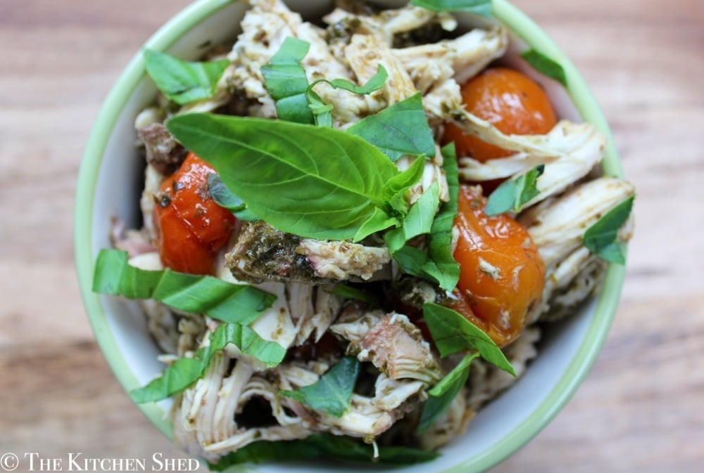 Clean Eating Slow Cooker Pesto Chicken - The Kitchen Shed