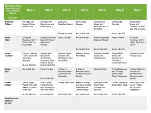Week 3 Meal Plan – 30 Day Clean Eating Challenge