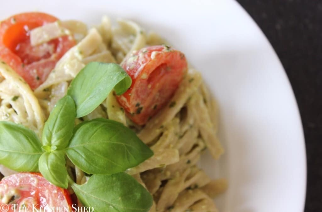 Clean Eating Pesto Goats Cheese Fettuccine
