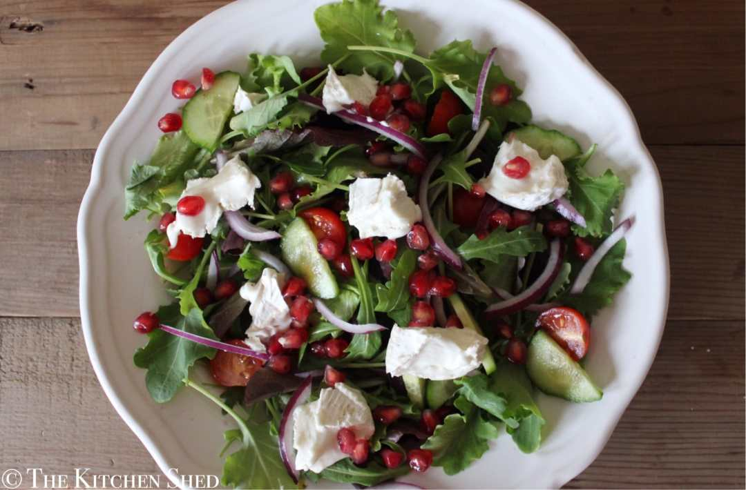 Clean Eating Pomegranate & Goats Cheese Salad
