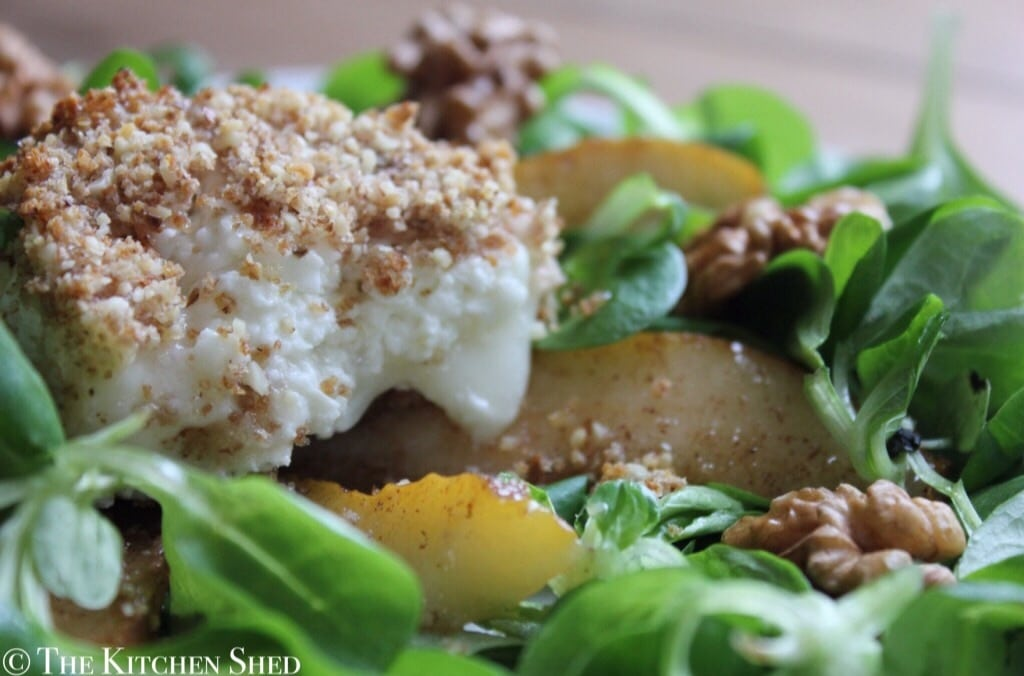 Walnut Crusted Goats Cheese & Spiced Pear Salad