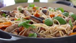 Clean Eating Roasted Butternut & Sausage Spaghetti