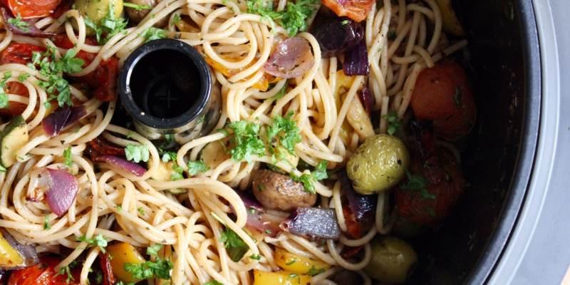 Quick Roasted Vegetable Wholegrain Spaghetti